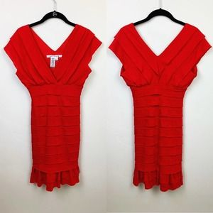 Max Studio Double V Tiered Red Dress